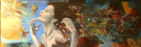 Fantasy Art Print featuring the painting Shivers by Dorina Costras