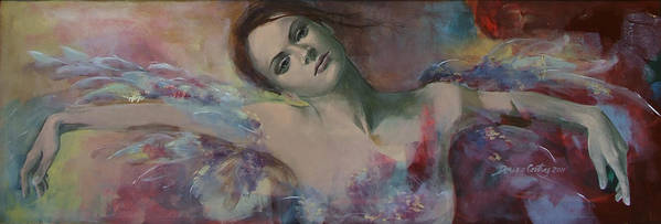 Fantasy Art Print featuring the painting When A Dream Has Colored Wings by Dorina Costras