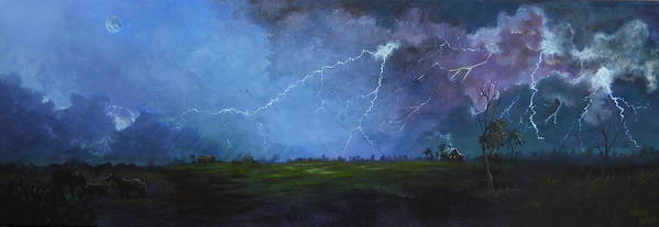 Leslie Art Print featuring the painting Fall Storm by Leslie Hoops-Wallace