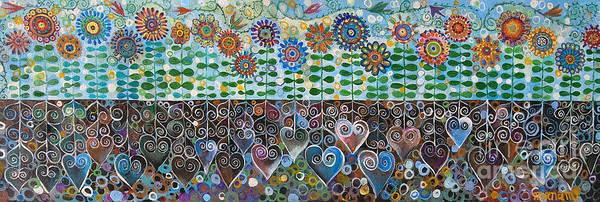 Blues Art Print featuring the painting Flower Garden Blues by Manami Lingerfelt