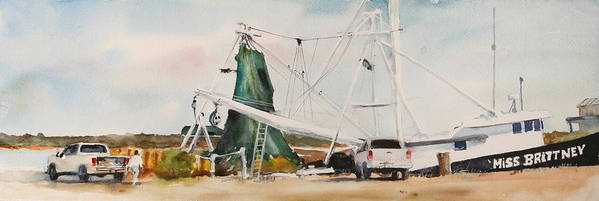 Boat Art Print featuring the painting Miss Brittney by Bobby Walters
