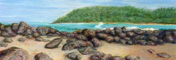 Coastal Decor Art Print featuring the painting Moloa'a Rocks by Kenneth Grzesik