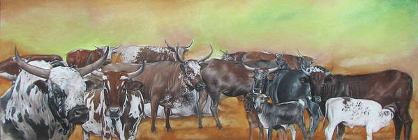 Nguni. Cows Art Print featuring the pastel Ngunis Across The River by Boarding Dzinotizei