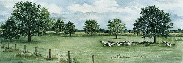 Cows Art Print featuring the painting Noonday Respite by Anne Rhodes