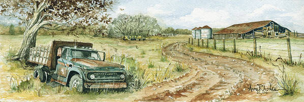 Truck Art Print featuring the painting Old Friend by Anne Rhodes