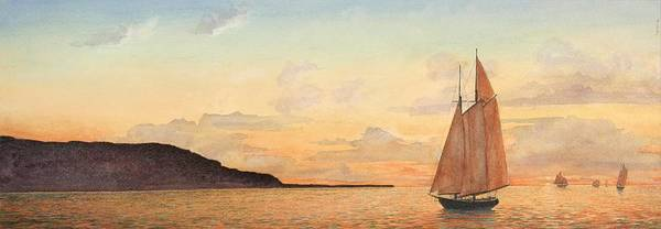 Seascape Art Print featuring the painting Returning Home by Stephen Bluto