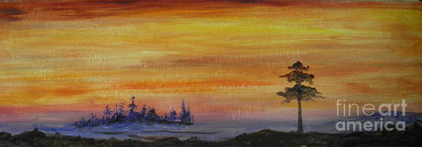 Sunset Art Print featuring the painting Sunset Symphony by Rhonda Myers