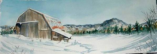 Art Print featuring the painting Winter Barn by Diane Ziemski