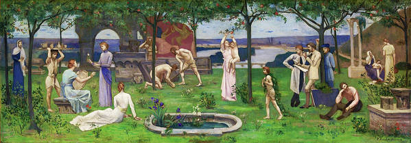 Between Art And Nature Art Print featuring the painting Between Art And Nature - Digital Remastered Edition by Pierre Puvis de Chavannes