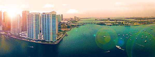 Panorama Art Print featuring the photograph 1 Miami by Michael Guirguis