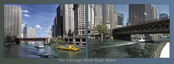 Riverwalk Art Print featuring the photograph Chicago River Boat Rides 2 Panel by Thomas Woolworth