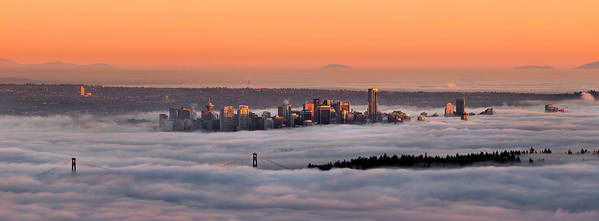 Vancouver Art Print featuring the photograph Foggy Sunset by Alexis Birkill