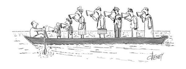Man Rowing While His Family Art Print featuring the drawing New Yorker October 10th, 1983 by Tom Cheney