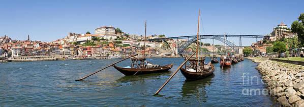 Porto Art Print featuring the photograph Port Wine Boats In Porto City by Jose Elias - Sofia Pereira