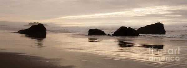 Sunset Art Print featuring the photograph Sea Stacks Panorama by Vivian Christopher