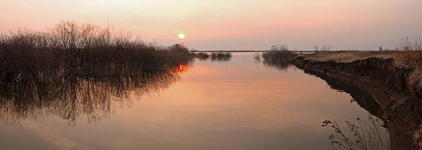 Area Art Print featuring the digital art Sunset River Panorama by Vitaliy Gladkiy