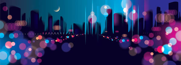 Wide Panorama Blurred Street Lights, Urban Abstract Background  Effect  Vector Beautiful Background  Big City Nightlife  Blur Colorful Dark  Background
