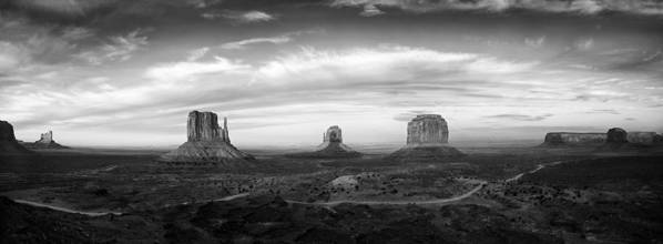 Clouds Art Print featuring the photograph Monument Valley Panorama by Andrew Soundarajan