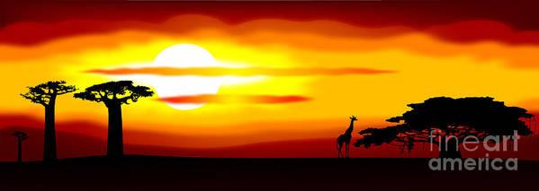 Africa Art Print featuring the digital art Africa Sunset by Michal Boubin