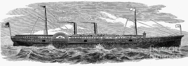 1867 Art Print featuring the photograph 4 Wheel Steamship, 1867 by Granger