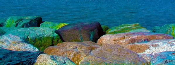 Goa Art Print featuring the digital art Goa Sea Front Rocks by Naresh Ladhu