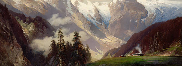 Mountain Landscape With The Grossglockner Art Print featuring the painting Mountain Landscape With The Grossglockner by Nicolai Astudin