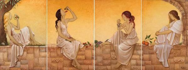 Season Art Print featuring the painting 4 Seasons II by Barbara Gerodimou