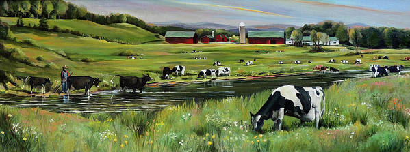 Landscape Art Print featuring the painting Dairy Farm Dream by Nancy Griswold