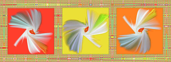 Abstract Art Print featuring the digital art Dancing Flower Trio by Ben and Raisa Gertsberg