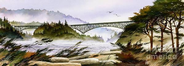 Landscape Fine Art Print Art Print featuring the painting Deception Pass Bridge by James Williamson