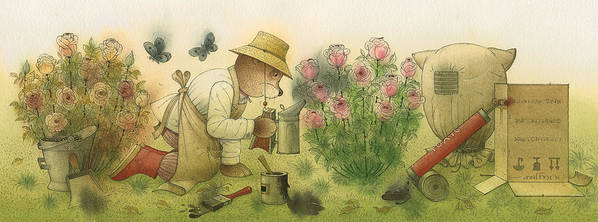 Bears Garden Flowers Roses Magic Glamour Art Print featuring the painting Florentius The Gardener11 by Kestutis Kasparavicius