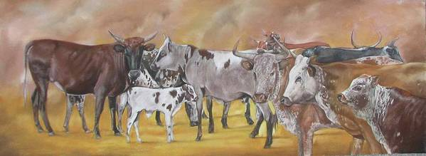 Nguni Art Print featuring the pastel From The Grazing Fields by Boarding Dzinotizei