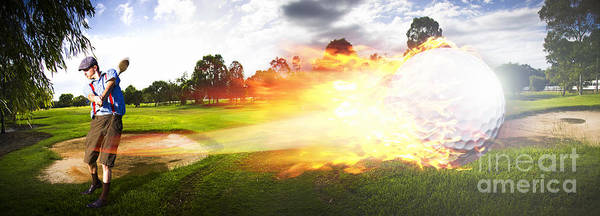 Vacation Art Print featuring the photograph Golf Ball On Fire by Jorgo Photography - Wall Art Gallery