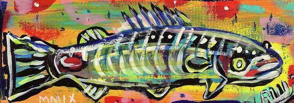 Rwjr Art Print featuring the painting Lil' Funky Folk Fish Number Ten by Robert Wolverton Jr