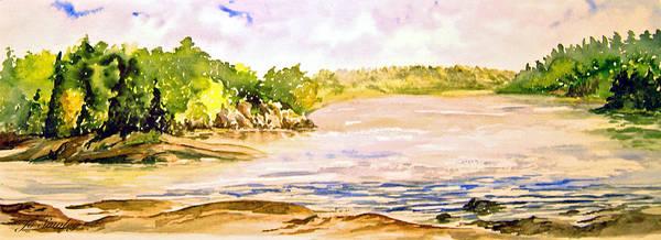 Pine Falls Manitoba Art Print featuring the painting Plein Air At Pine Falls Manitoba by Joanne Smoley