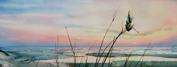 Sunset Art Prints Art Print featuring the painting Beyond The Sand by Hanne Lore Koehler