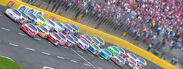 Nascar Art Print featuring the painting Coming Out Of Turn 4 by Kenneth Krolikowski