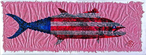 Gyotaku Art Print featuring the mixed media Gyotaku - American Spanish Mackerel - Flag by Jeffrey Canha