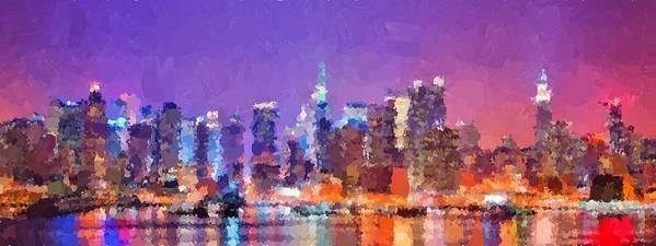 New Art Print featuring the painting New York City - Skyline 0 by Samuel Majcen