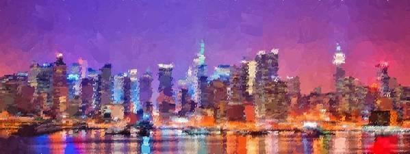 New Art Print featuring the painting New York City - Skyline by Samuel Majcen