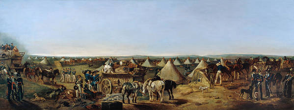Prince Of Wales' Own Art Print featuring the painting The 10th Regiment Of Dragoons Arriving by A.E. Eglington