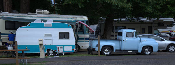 Camping Art Print featuring the photograph Vintage Trailer Truck by Jeri lyn Chevalier