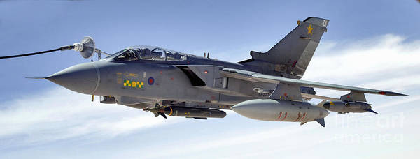 Horizontal Art Print featuring the photograph An Raf Tornado Gr-4 Takes On Fuel by Stocktrek Images