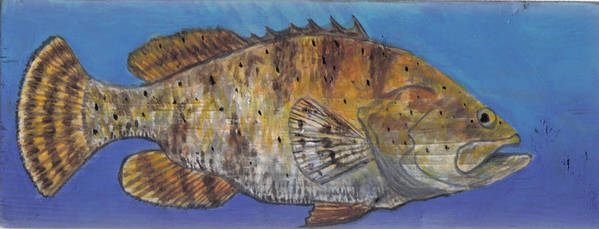 Grouper Print featuring the painting Grouper by Edward Walsh