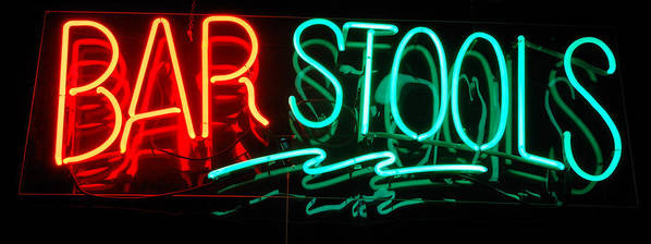 Neon Art Print featuring the photograph Neon Bar Stools by Steven Milner