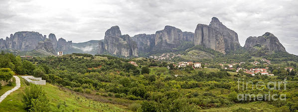 Panorama Art Print featuring the photograph Spectacular Meteora Rock Formations by Moshe Torgovitsky