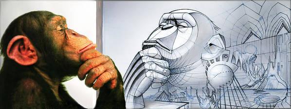 Chimp Art Print featuring the digital art Chimps Don't Draw by Nicholas Bockelman
