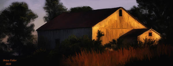 Landscape Art Print featuring the digital art Country Barn by Brian Fisher