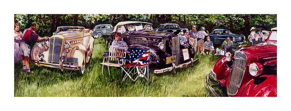 1936 Chev Chevrolet 1937 Lasalle Packard Automobile Cars Show Concours D Art Print featuring the painting Old Glories by Mike Hill