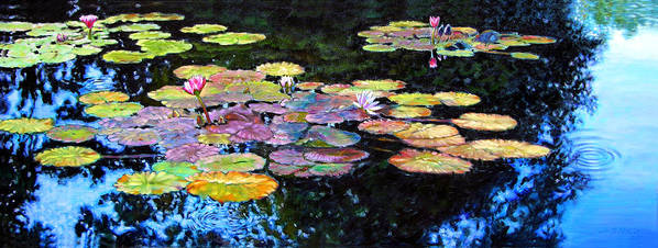 Water Lilies Art Print featuring the painting Peace Among The Lilies by John Lautermilch